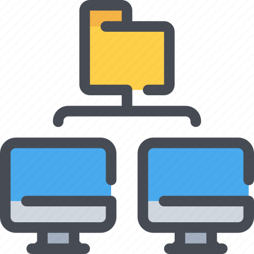 computer, connect, database, file, folder, network icon