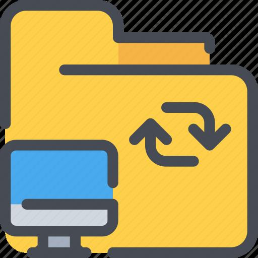 arrow, computer, connect, file, folder, network icon