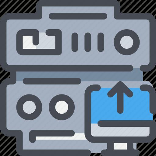 arrow, connect, database, network, server, upload, web icon
