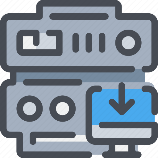 arrow, connect, database, download, network, server, web icon