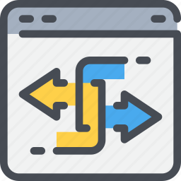arrow, browser, connect, data, exchange, network icon