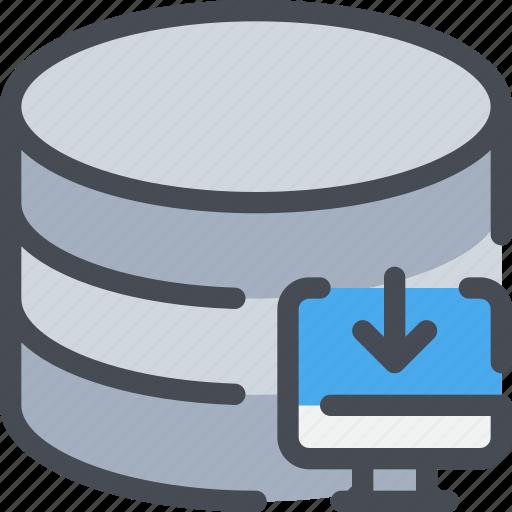 arrow, computer, database, download, network icon