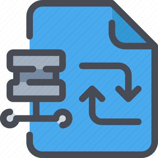 arrow, connect, database, document, exchange, file icon