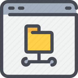 browser, connect, database, file, folder, network icon
