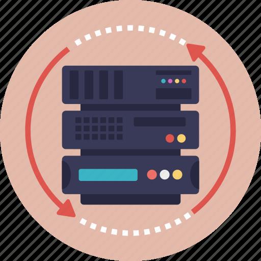 hosting server, server development, server processing, server service, server sync icon