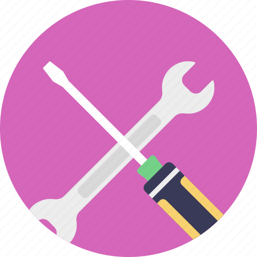 hammer, spanner, technical support, work tools, wrench icon