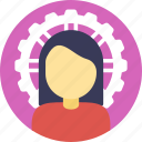 business management, businesswoman, industrialist, project management, technical gear icon