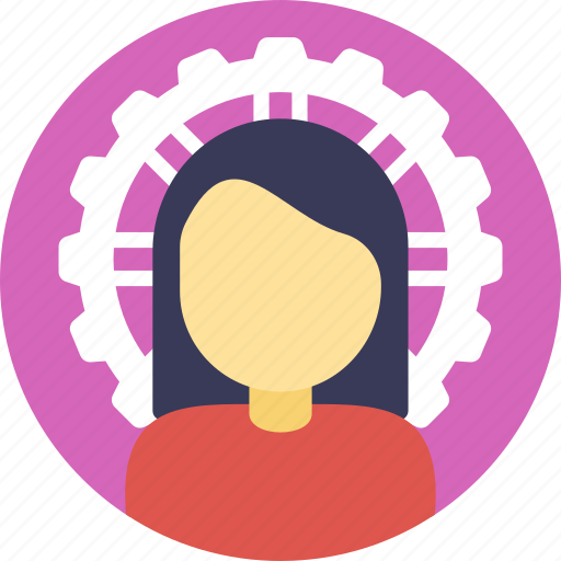 business management, businesswoman, industrialist, project management, technical gear icon