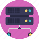 database, database network, networking, server hosting, shared server icon