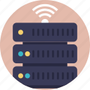 database wifi, server wifi, smart customer database, wifi connected server, wifi hotspot network map icon