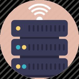 database wifi, server wifi, smart customer database, wifi connected server, wifi hotspot network map icon