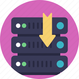 data center, database, server backup, server downloading, web hosting icon