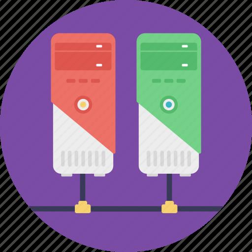 database, database network, networking, server hosting, shared server icon