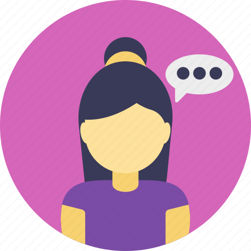 communication, conversation, discussion, girl talking, speaking icon
