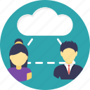 cloud outsource, cloud user, remote employees, remote infrastructure, remote worker icon
