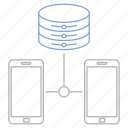 data, hosting, network, phone, server, smartphone icon