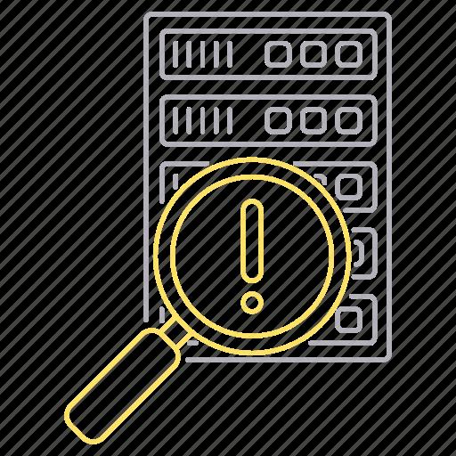 data, error, hosting, network, search, server icon