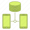 data, hosting, infrastructure, network, phone, server, smartphone icon