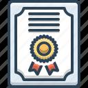 certificate, diploma, education, honor, knowledge