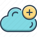 add, cloud, computing, database, plus, storage icon