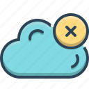 cancel, cloud, computing, database, delete, weather icon