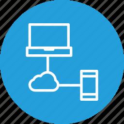 cloud, data, laptop, mobile, online, sharing, storage icon