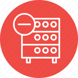 data, databse, hosting, rack, remove, server, storage icon