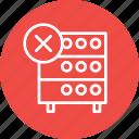 data, databse, hosting, rack, remove, server, storahe icon