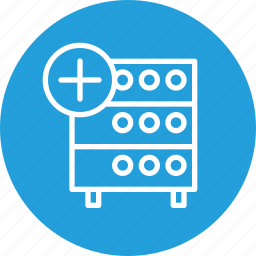 add, data, databse, hosting, rack, server, storage icon
