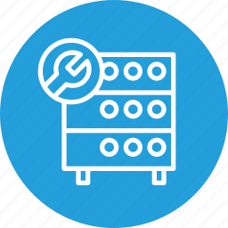 databse, hosting, optimization, rack, server, settings, wrench icon