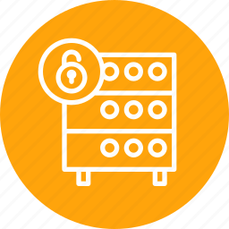 databse, hosting, lock, rack, secure, security, server icon