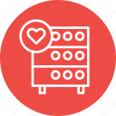 databse, favorite, heart, hosting, like, rack, server icon