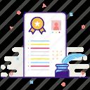 cv, document, sign icon