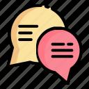chat, communicate, communication, interaction