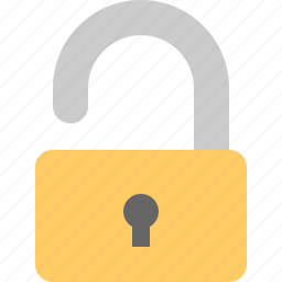 lock removed, open lock, unlocked, unsecure icon