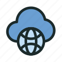 cloud, connection, globe, hosting, internet, network, technology icon