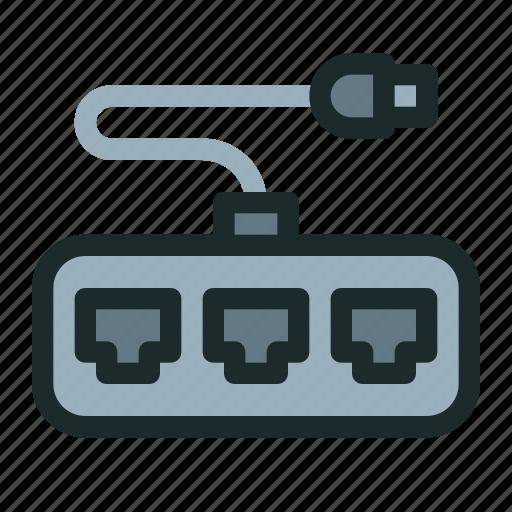 broadband, connection, hub, network, port, tcp, technology icon