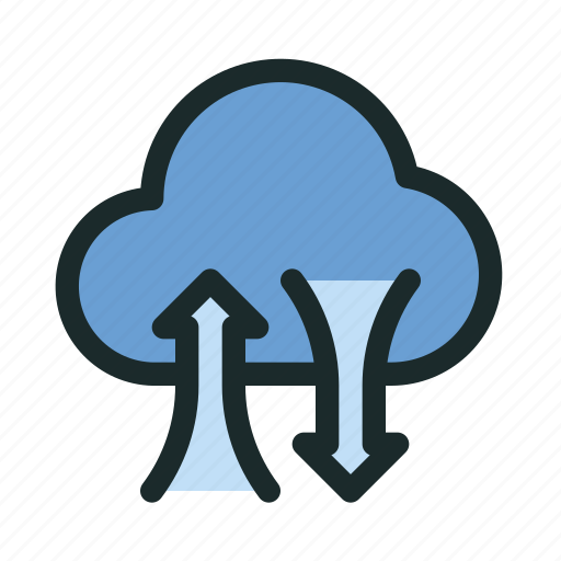 cloud, connection, data, network, sync, technology, transfer icon
