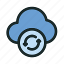 cloud, connection, network, reload, sync, technology, update icon