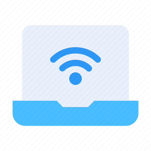 connection, device, laptop, network, signal, technology, wireless icon