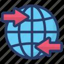 global exchange, global transfer, global transformation, international transaction, worldwide transection icon