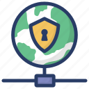 global connection, global network security, international network, online protection, worldwide safety icon