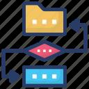 data conversion, data exchange, data migration, data synchronization, folder transformation icon