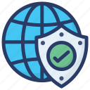 global protection, global security, safe network, worldwide security icon
