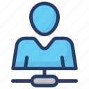 admin, employee network, social network, user contact, user network icon