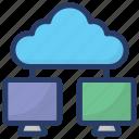 cloud computing, cloud data share, cloud hosting, cloud network, cloud technology icon
