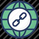 global connection, global hyperlink, global link, internet link, web link icon