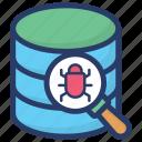 database bug tracking, database virus, find bug, virus finding, virus search icon