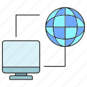 computer, connection, globe, internet, link, network icon