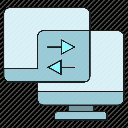 computer, connection, data transfer, desktop, sync icon